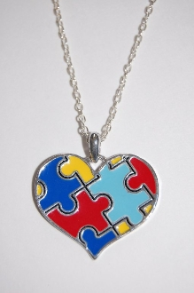 Puzzle Piece Heart Necklace